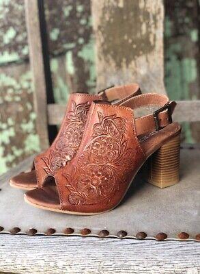 Roper Women's Mika Tan Tooled Leather Peep Toe Shoes Sandals 1276   eBay