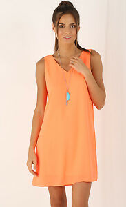 Details about V Neck Lined Chiffon Shift Dress S 810 Neon Orange Bright Party Club Work Career