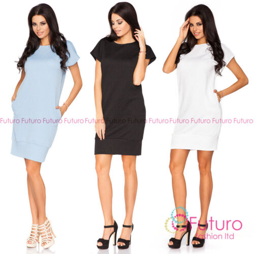 Womens Oversized Cocktail Dress With Pockets Short Sleeve Size 8-14 FA398