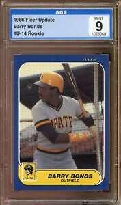 Barry Bonds Rookie Card 1986 Fleer Update #U-14 AGS 9