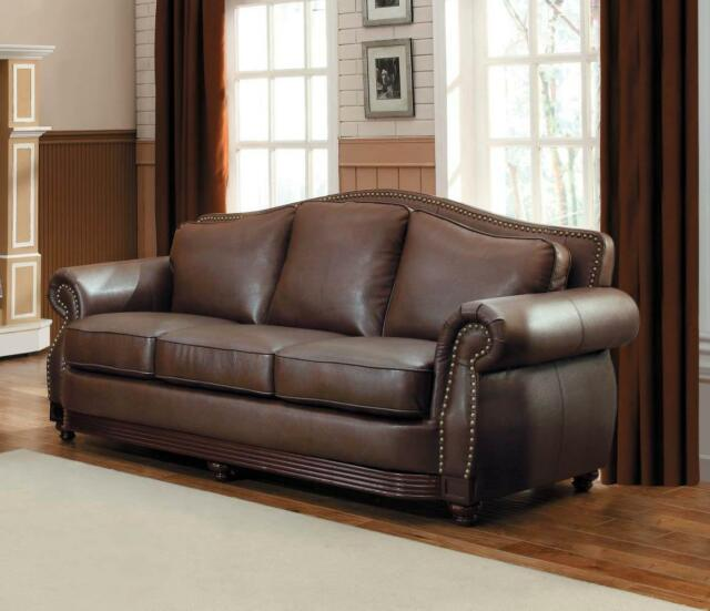 Admirable Dark Brown Bonded Leather Sofa Classic Traditional Homelegance 9616Brw 3 Midwood Andrewgaddart Wooden Chair Designs For Living Room Andrewgaddartcom
