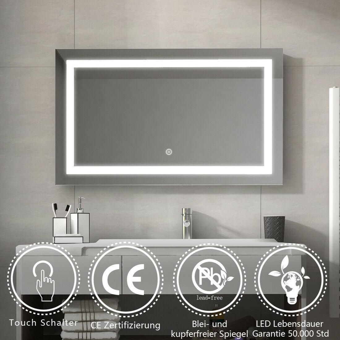 Badspiegel mit Beleuchtung LED Badezimmerspiegel 80x60 100x60 mit Touch Schalter