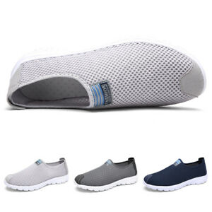 Mens-Summer-Breathable-Tennis-Shoes-Walking-Sneakers-Lightweight-Slip-On-Loafers