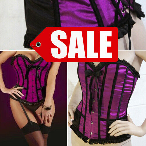 SALE Costume Purple Striped Satin Waist Belt Ruffled Trim Boned Corset S-XL US
