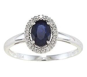 Oro-Blanco-Original-Ovalado-Zafiro-Azul-y-Anillo-Diamante-Halo