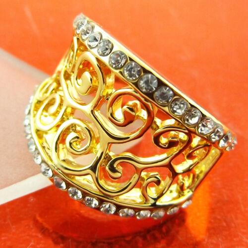 RING GENUINE REAL 18K YELLOW G//F GOLD DIAMOND SIMULATED ANTIQUE FILIGREE DESIGN