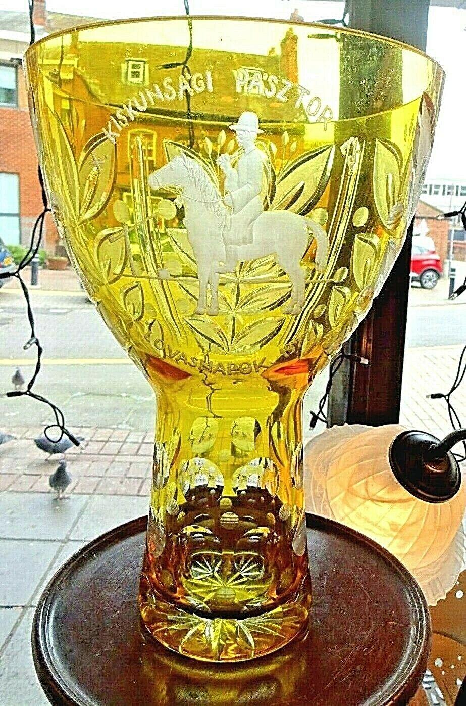 Yellow Overlay Etched Glass Hungarian Trophy X. Kiskunsági Pásztor és Lovasnapok