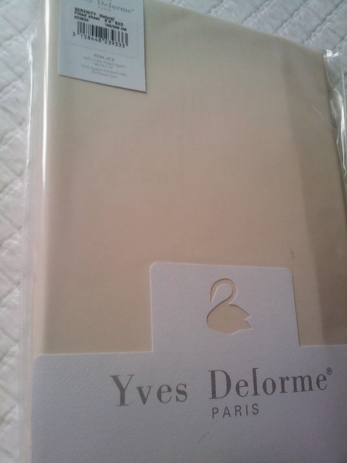 Yves Delorme SERENITY NATUREL Fitted Sheet SUPERKING