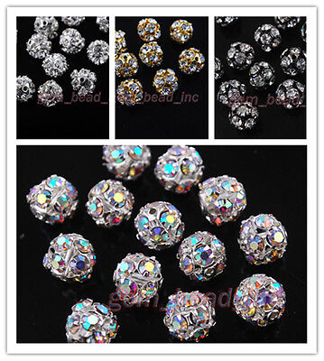 30Pcs Crystal Rhinestone Copper Spacer Bead Ball Bracelet Finding 6 8 10 12mm
