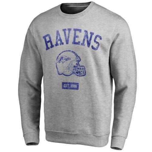 Baltimore Ravens NFL Men/'s Iconic Helmet Graphic Crew Sweatshirt Grey New
