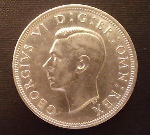 Half-Crown-Coin-King-George-VI-British-English-London-Silver-Royal-Mint-Family