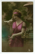 1910's Pinup Glamour BEAUTY w/ DOVE Pigeon photo postcard