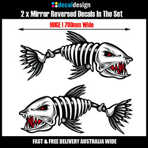 Skeleton-Fish-Boat-Decals-x-2-HUGE-70cm-Wide-stickers-fishing-tackle-graphics