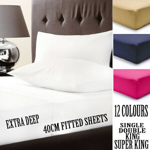 "EXTRA DEEP FITTED SHEETS BEDDING 16""/40CM PERCALE SINGLE,DOUBLE,<wbr/>KING,SUPER KING"
