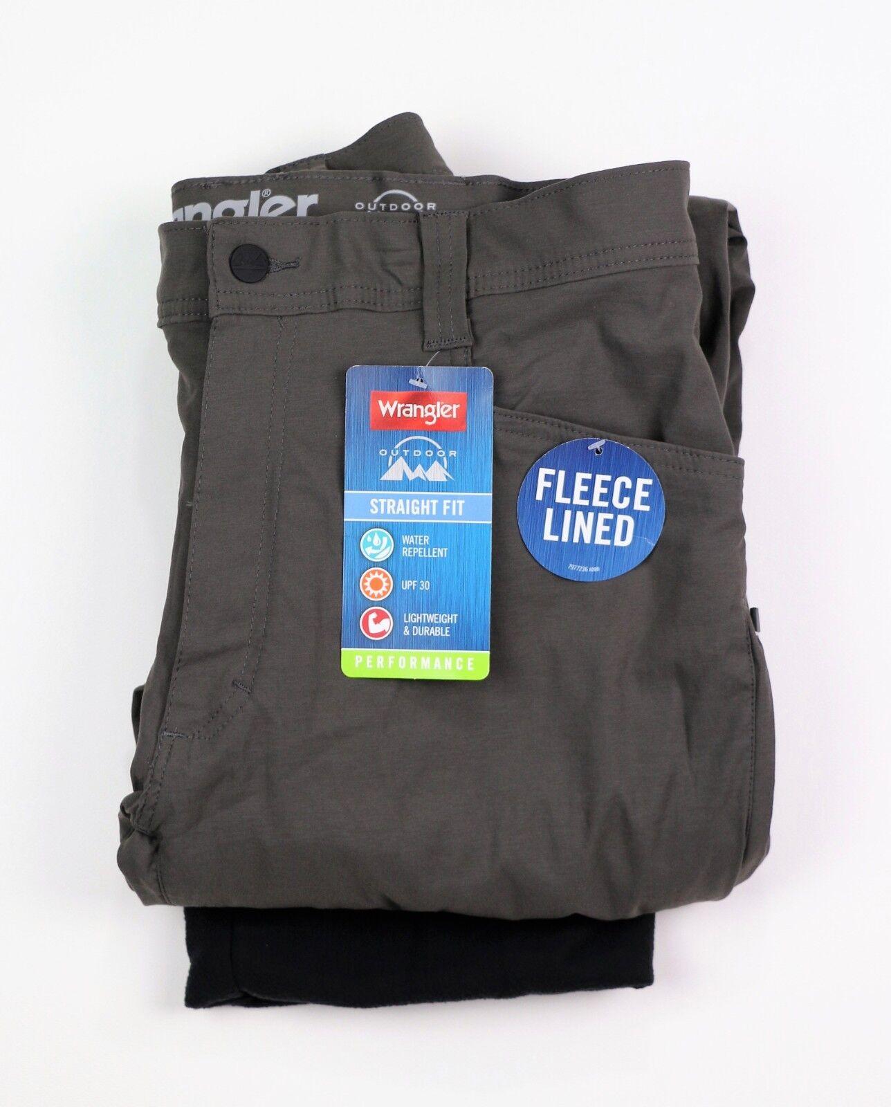 New Wrangler Men's Fleece Lined Pants Water Repellent Fishing Hiking Outdoors