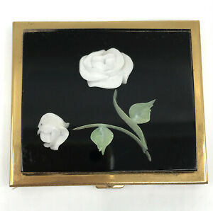 Powder-Compact-Embedded-White-Rose-in-Lucite-3D-c1950s-Puff-Sifter-Unused-Vtg