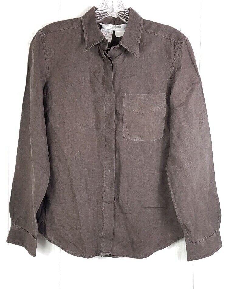 MAX MARA damen Größe 4 braun 100% linen long sleeved button down blouse top