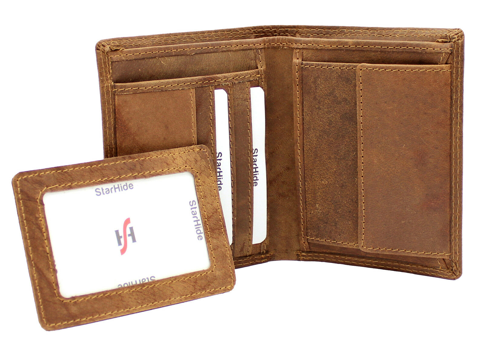 Mens RFID SAFE High Quality Brown Distressed Hunter Vintage Leather Wallet 1090
