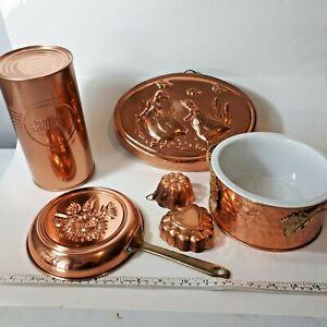 Vintage-Mixed-Copper-Kitchen-Decor-7-Pce-Lot-Jello-Aspic-Molds-Saucepan