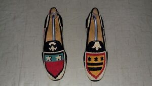 RARE-Men-039-s-495-Stubbs-amp-Wootton-Needlepoint-034-CREST-034-Loafers-Slippers-Shoes