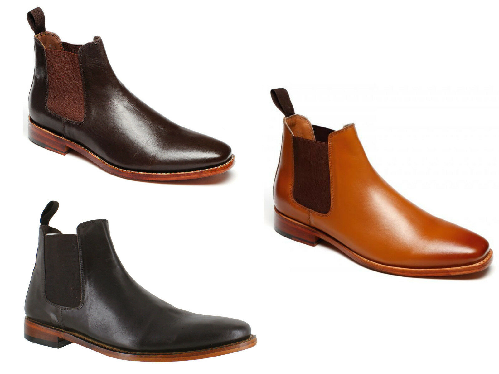 Mens 3013 All Leather Chelsea Stiefel Goodyear Welted Sole 3 Colours 7-12