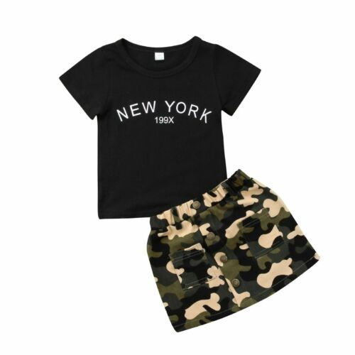 Cotton Black T Shirt Tops Camo Skirt For Girls Summer Toddler Kids Outfit Set