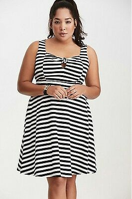 Torrid Womens Black/White Striped Tie Front Skater Dress White Plus Size 4X  (TT8   eBay