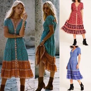 Lady-Sexy-V-Neck-Floral-Print-Boho-Short-Sleeve-Summer-Beach-Casual-Midi-Dress