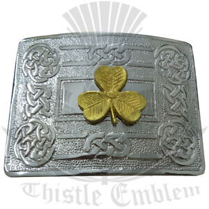New-Traditional-Swirl-Celtic-Knot-Belt-Buckle-Chrome-Irish-Shamrock-Badge-Golden