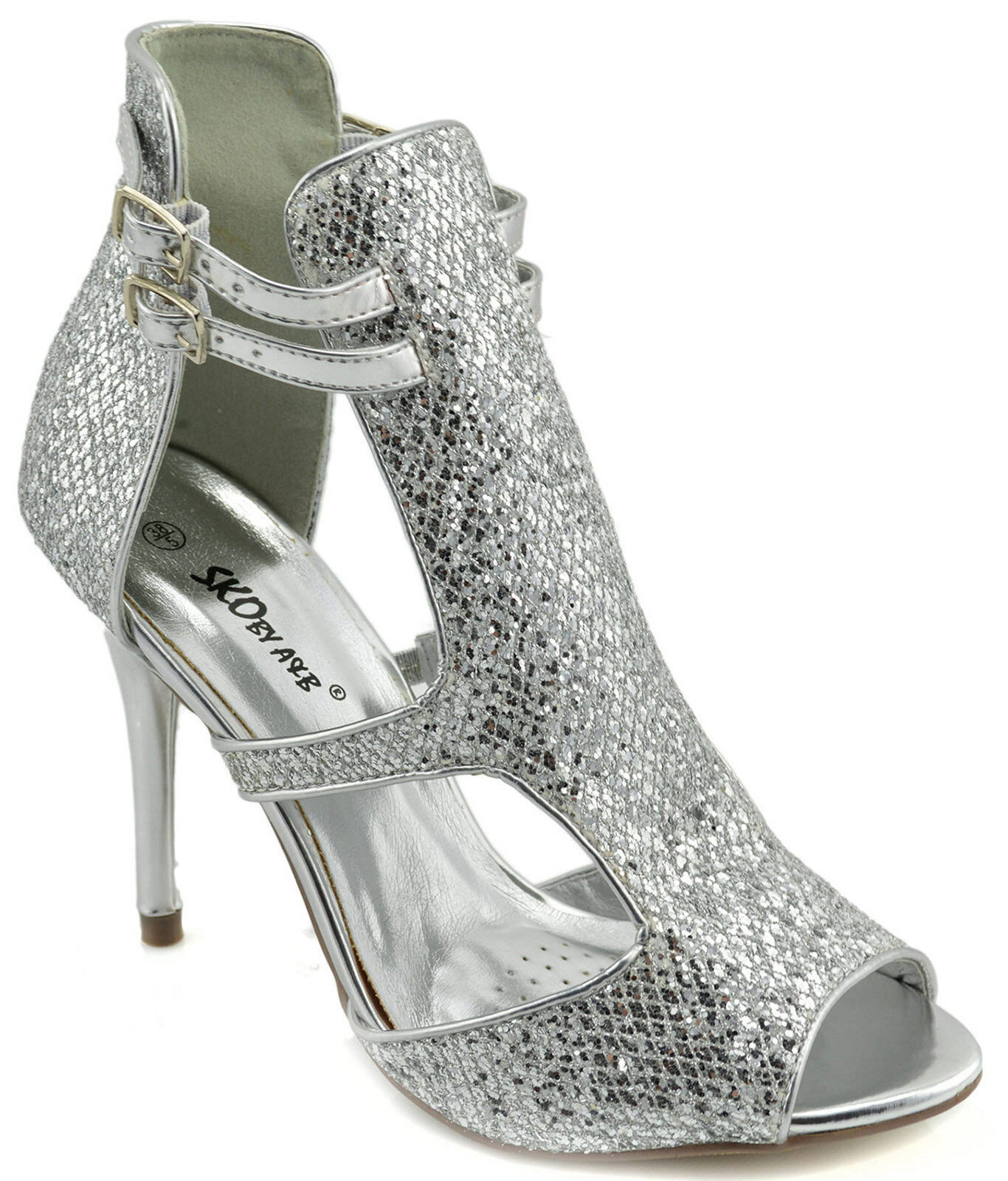 140 argent Sexy Stiletto Fashion Party femmes chaussures Sandals High Heels