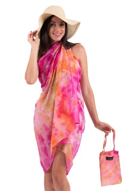 Spirituelle Cotton Beach Sarong with Matching Carry Bag - Balinese Sunset