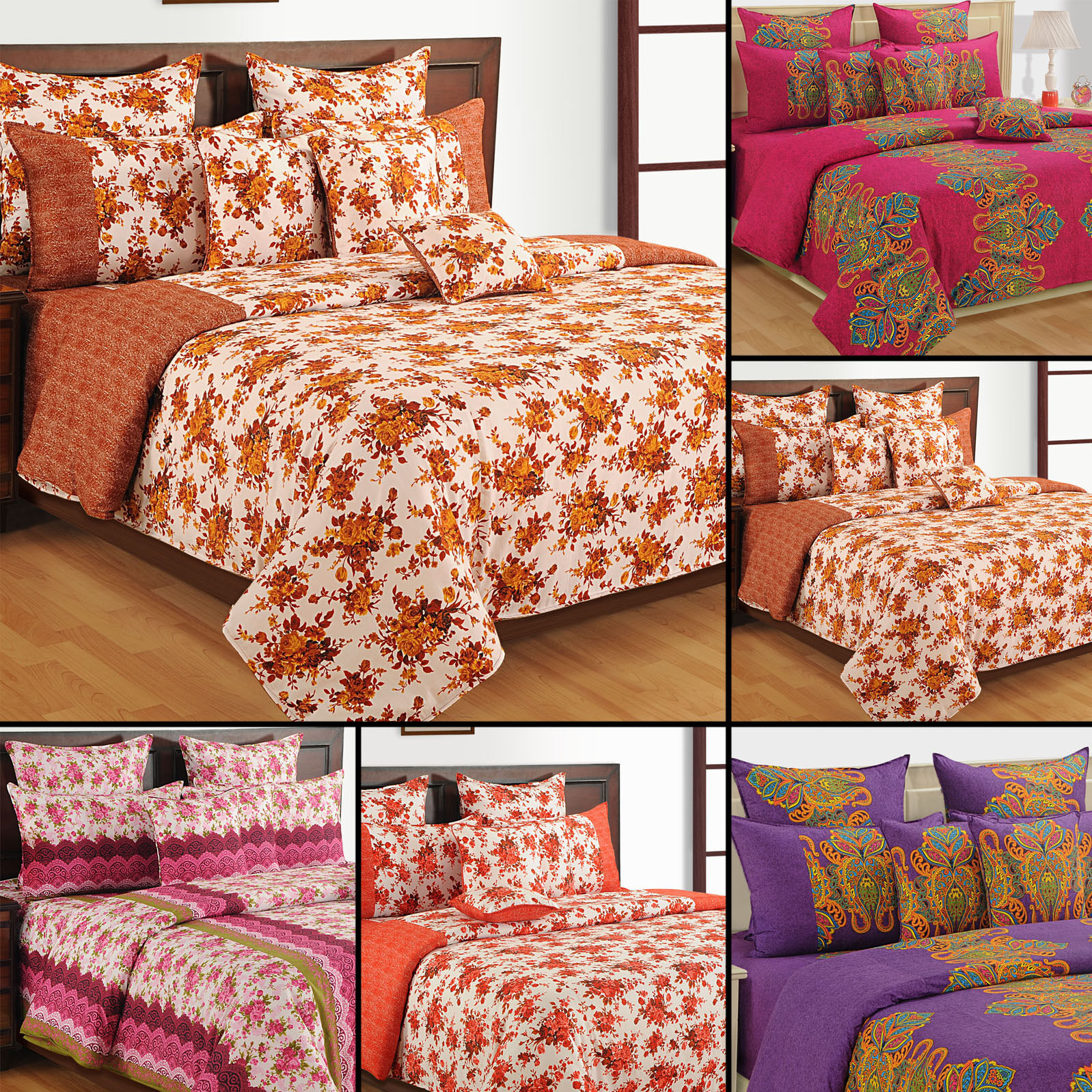 100% Cotton Twin Queen Size Home Decorative Floral Bedding Comforter -4312