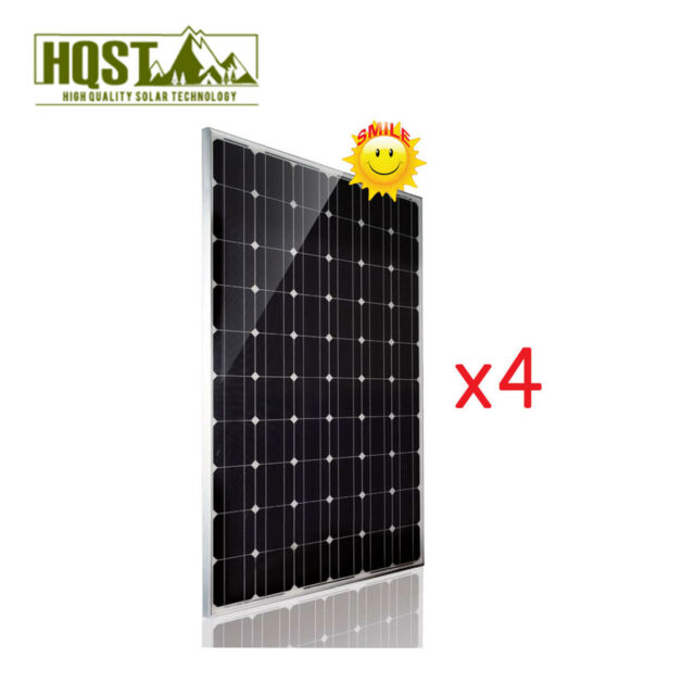 1000W 1KW 24V Solar Panel Mono 4Pc 250 Watt 24 Volt RV Boat Off Grid System
