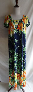 Vtg-70-039-s-Nani-of-Hawaii-Tropical-Flower-Muu-Muu-Hawaiian-Maxi-Beach-Dress