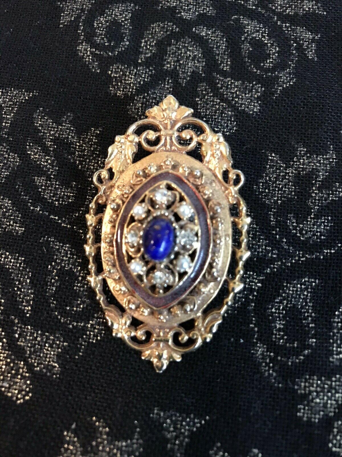 Vintage Ornate Gold Tone Pin Blue And Faux Pearl … - image 9