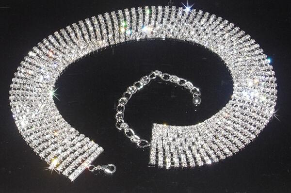 10 Riga Solido Crystal Nastro Cintura Fatta Con Cristalli Swarovski