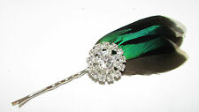 Green White Grey Black Natural Feather Hair Clip Silver Fascinator Headpiece B36