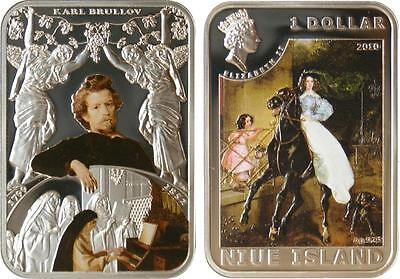 Karl Brullov 28.28g Silver Proof Coin Niue 2010 $1 World of Painting
