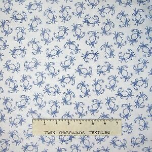 'Nautical-Fabric-Sea-BLue-amp-White-Crabs-Timeless-Treasures-YARD' from the web at 'https://i.ebayimg.com/images/g/fAcAAOSwCU1Y1uGc/s-l300.jpg'