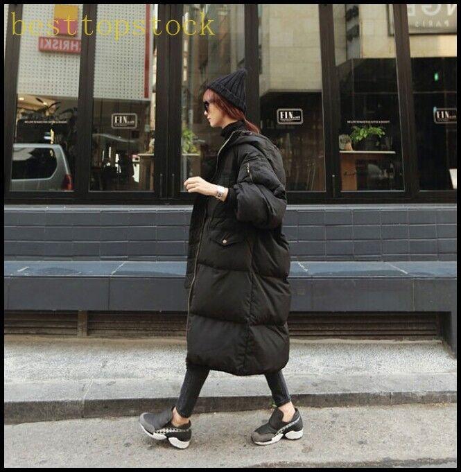 Ladies Long Cotton Cotton Cotton Down Coat Winter Parka Hood Loose Fit Overcoats Plus Sizes b554b2