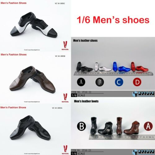 1//6 Scale Man/'s Fashion Shoes Leather Shoes Boots For 12/'/' Hot Toys Figure Body