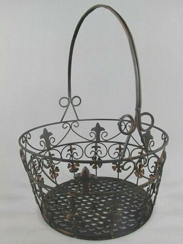 3er-Set Blumenkorb aus Schmiedeeisen rustikal-braun Pflanzkorb Eisenkorb rund