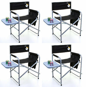 DIRECTORS-CHAIR-BLACK-FOLDING-OUTDOOR-CAMPING-FISHING-CUP-HOLDERS-SIDE-POCKETS