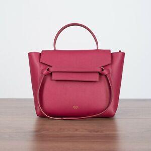 CELINE-2300-Micro-Belt-Bag-In-Raspberry-Grained-Calfskin