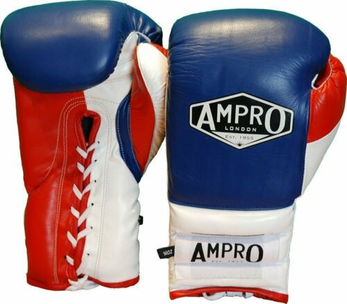 Ampro Mirage V2 Professional Lace Up Sparring Glove Navy//White//Red