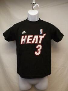 New-Minor Flaw Miami Heat #3 Dwyane Wade Youth Size 8 S Small Black Adidas Shirt