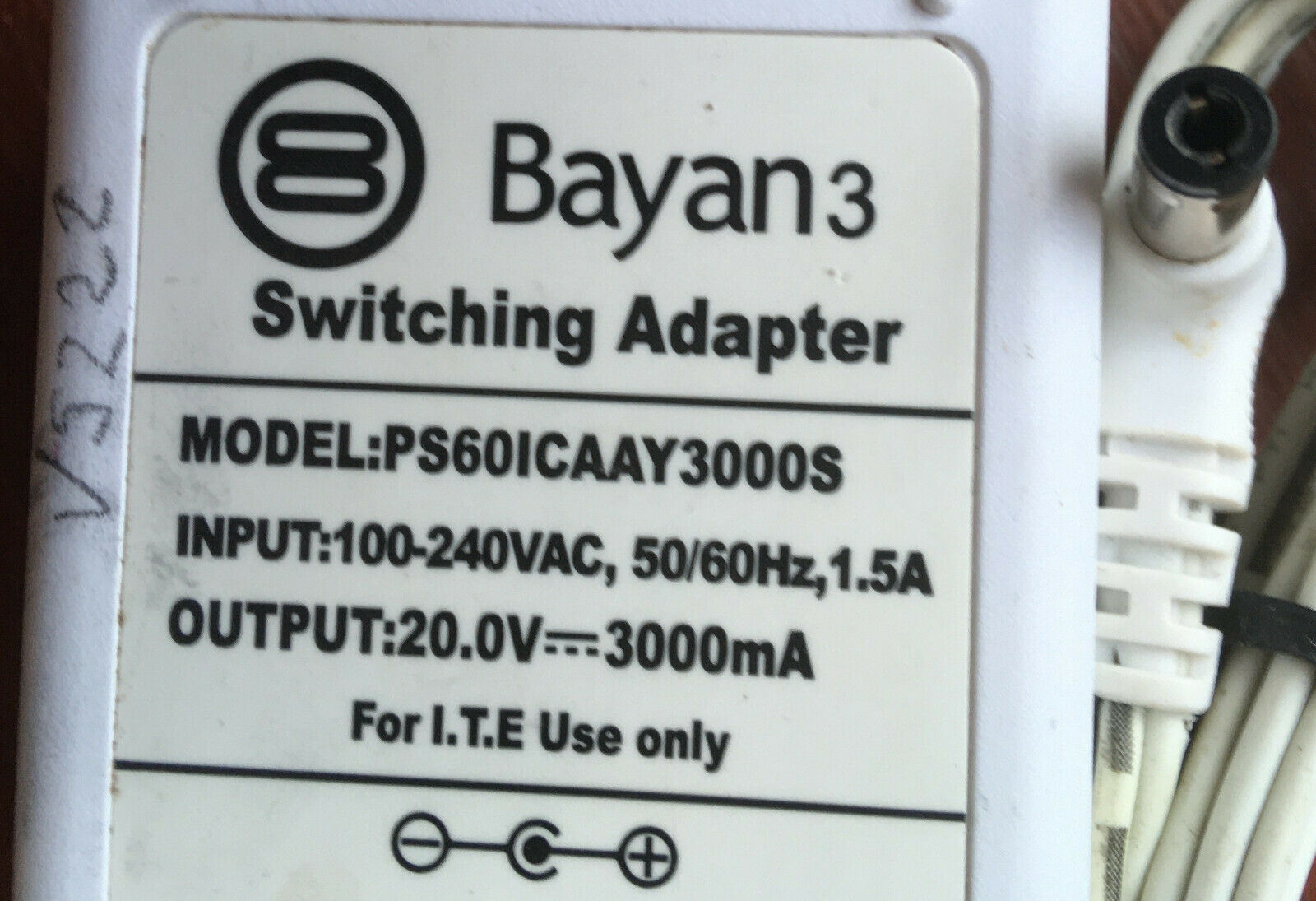 Bayan 20v DC 3A Mains AC-DC Adaptor Power Supply for Audio 3 Speaker Dock
