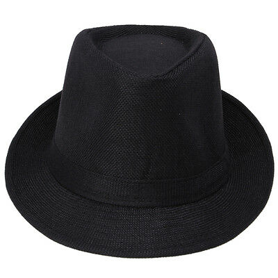 Men Women Black Solid Hemp Linen Gangster Jazz Trilby Fedora Panama Hat Cap