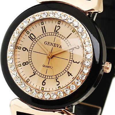 Fashion Black Women's Lady Rhinestone Silicone Band Quartz Wrist Watch