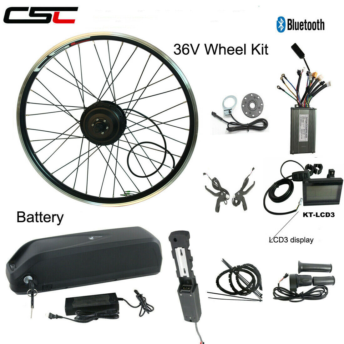 E bicicletta Mountain bicicletta Conversion Motor rueda Kit 36V 500W With Battery Charger